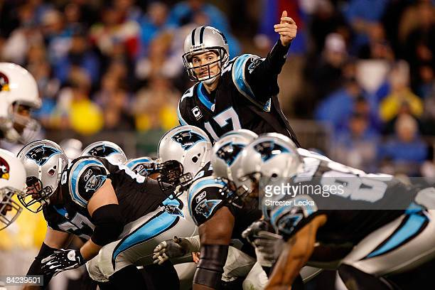 Quarterback Jake Delhomme of the Carolina Panthers signals to a teammate while lined up against the Arizona Cardinals defense during the NFC...