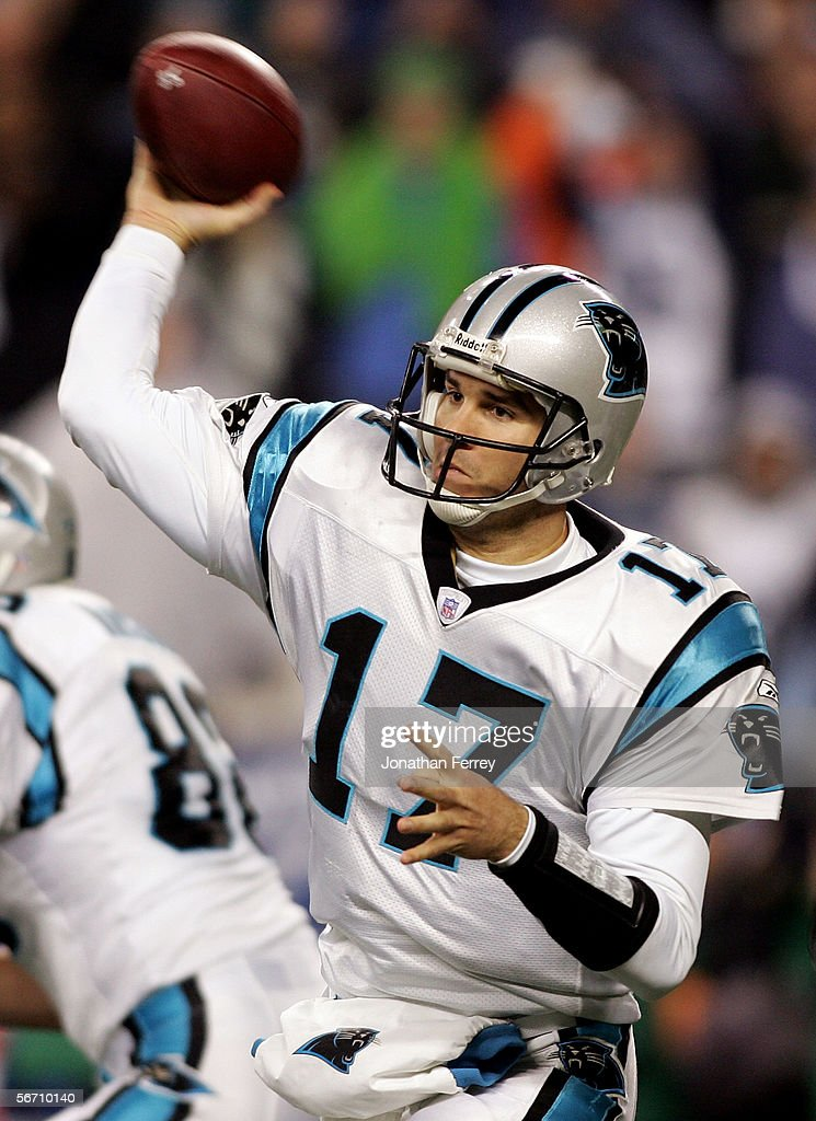 Quarterback Jake Delhomme #17 of the Carolina Panthers throws the ball during the NFC Championship Game against the Seattle Seahawks at Qwest Stadium on January 22, 2006 in Seattle, Washington.
