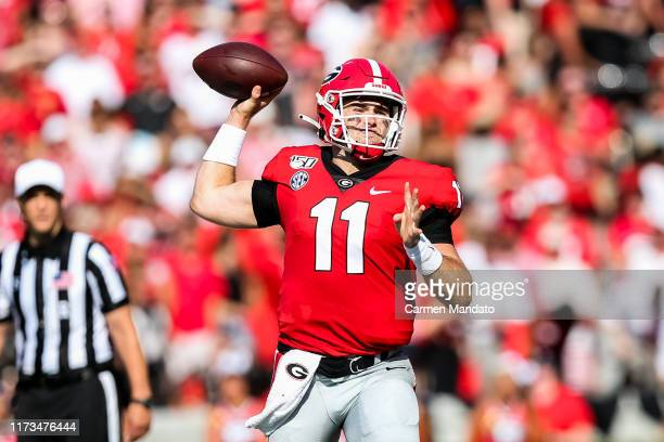 Quarterback Jake Fromm of the Georgia Bulldogs looks to pass during the game against the Murray State Racers at Sanford Stadium on September 7 2019...