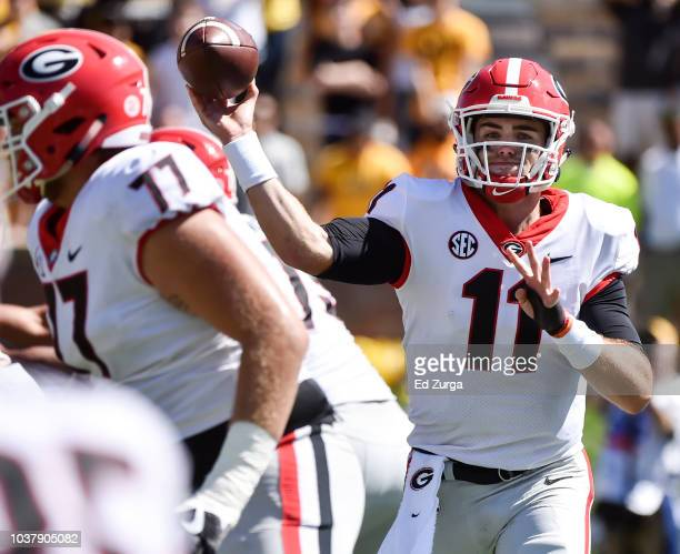 Quarterback Jake Fromm of the Georgia Bulldogs passes on a twopoint conversion attempt in the third quarter at Memorial Stadium on September 22 2018...