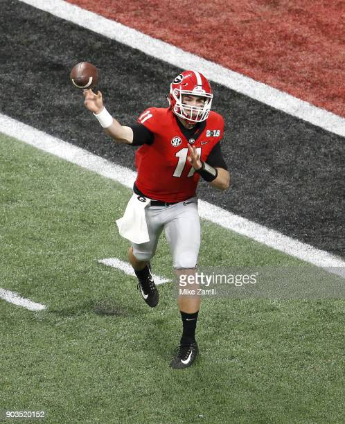 Quarterback Jake Fromm of the Georgia Bulldogs throws a pass during the College Football Playoff National Championship game against the Alabama...