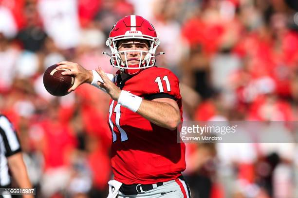 Quarterback Jake Fromm of the Georgia Bulldogs throws the ball during the first half vs the Murray State Racers at Sanford Stadium on September 7...