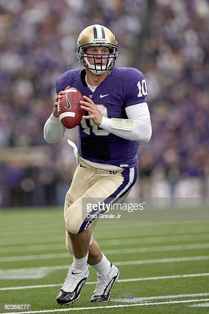 Quarterback Jake Locker of the Washington Huskies looks to pass the ball during the game against the Oregon Ducks on October 24, 2009 at Husky...