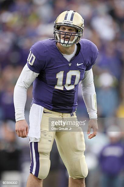 Quarterback Jake Locker of the Washington Huskies looks to the sideline during the game against the Oregon Ducks on October 24 2009 at Husky Stadium...