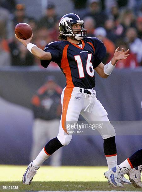 Quarterback Jake Plummer of the Denver Broncos passes the ball against the Baltimore Ravens during the game on December 11 2005 at Invesco Field at...