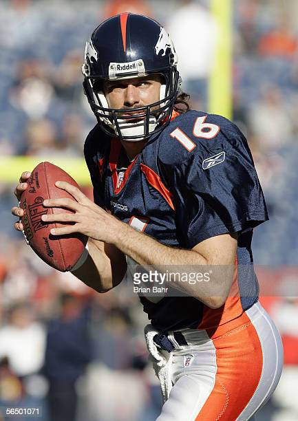 Quarterback Jake Plummer of the Denver Broncos warms up prior to the game against the Oakland Raiders on December 24 2005 at Invesco Field at Mile...