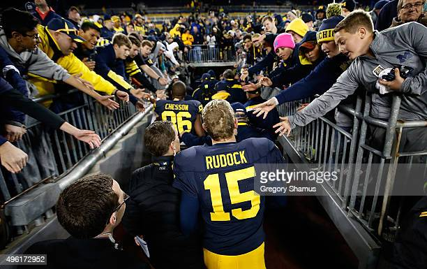 Quarterback Jake Rudock of the Michigan Wolverines leaves the field after a 4916 win over the Rutgers Scarlet Knights on November 7 2015 at Michigan...
