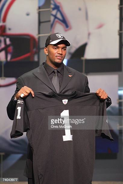 Quarterback JaMarcus Russell of LSU poses for a photo after being drafted by the Oakland Raiders during the 2007 NFL Draft on April 28 2007 at Radio...