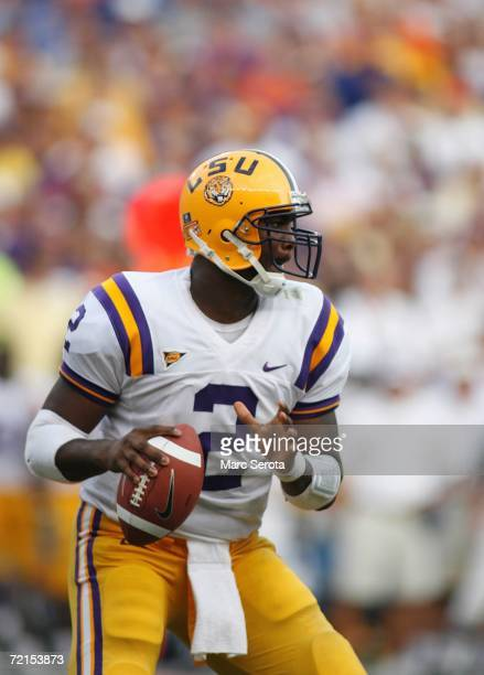 Quarterback JaMarcus Russell of the LSU Tigers drops back to pass during the game against the Florida Gators at Ben Hill Griffin Stadium on October 7...