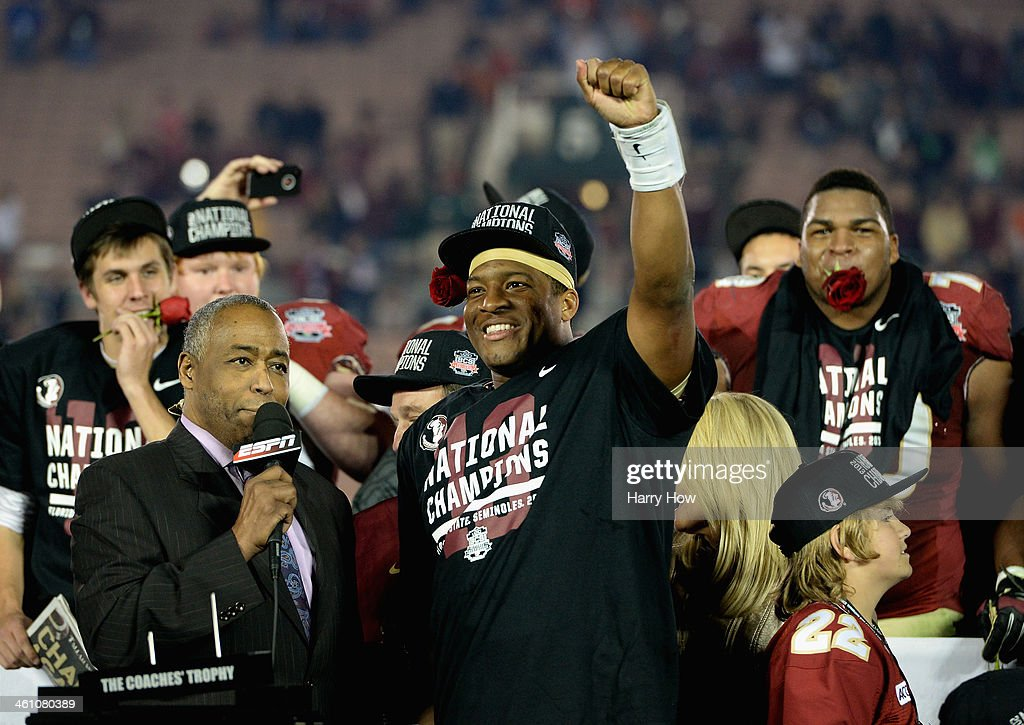 Quarterback Jameis Winston #5 of the Florida State Seminoles celebrates after defeating the Auburn Tigers 34-31 in the 2014 Vizio BCS National Championship Game at the Rose Bowl on January 6, 2014 in Pasadena, California.