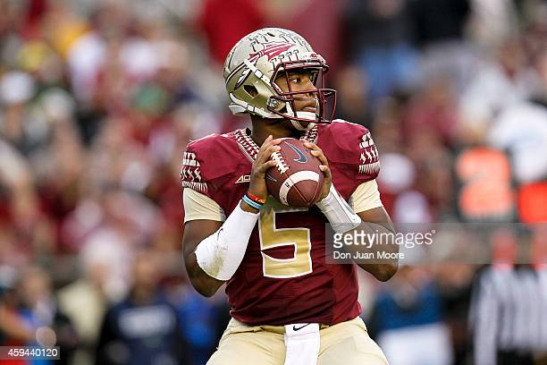 Quarterback Jameis Winston of the Florida State Seminoles during the game against the Boston College Eagles at Doak Campbell Stadium on Bobby Bowden...