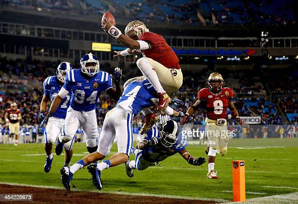 Quarterback Jameis Winston of the Florida State Seminoles scores a touchdown in the third quarter against the Duke Blue Devils during the ACC...