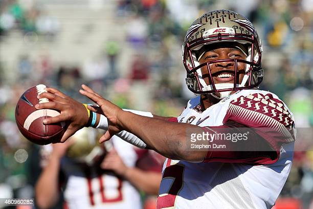 Quarterback Jameis Winston of the Florida State Seminoles warms up prior to the College Football Playoff Semifinal at the Rose Bowl Game presented by...