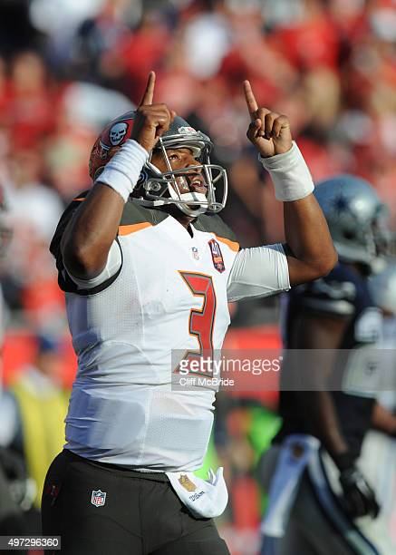Quarterback Jameis Winston of the Tampa Bay Buccaneers celebrates his rushing touchdown against the Dallas Cowboys for the win in the fourth quarter...