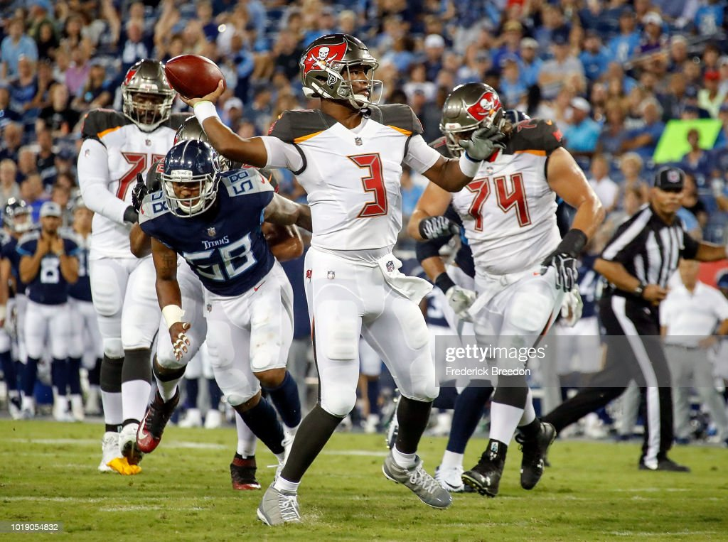 Quarterback Jameis Winston #3 of the Tampa Bay Buccaneers drops back to pass against the Tennessee Titans during the first half of a pre-season game at Nissan Stadium on August 18, 2018 in Nashville, Tennessee.