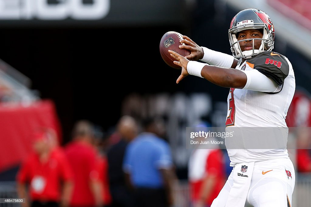 Quarterback Jameis Winston #3 of the Tampa Bay Buccaneers during a preseason game against the Cincinnati Bengals at Raymond James Stadium on August 24, 2015 in Tampa, Florida. The Buccaneers defeated the Bengals 25 to 11.