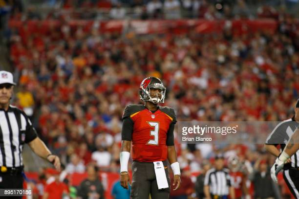 Quarterback Jameis Winston of the Tampa Bay Buccaneers reacts on the field during the second quarter of an NFL football game against the Atlanta...