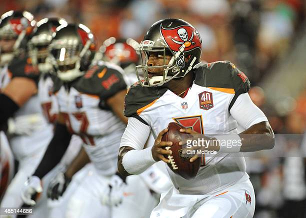 Quarterback Jameis Winston of the Tampa Bay Buccaneers scrambles against the Cincinnati Bengals in the first quarter at Raymond James Stadium on...