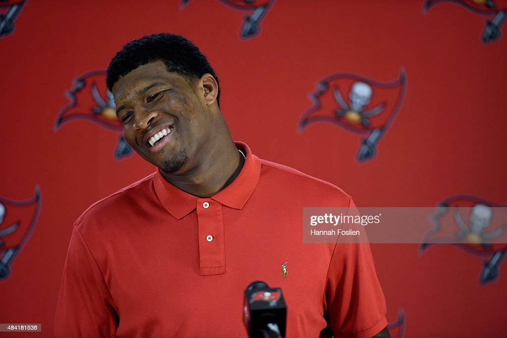 Quarterback Jameis Winston #3 of the Tampa Bay Buccaneers speaks to the media after the preseason game against the Minnesota Vikings on August 15, 2015 at TCF Bank Stadium in Minneapolis, Minnesota. The Vikings defeated the Buccaneers 26-16.