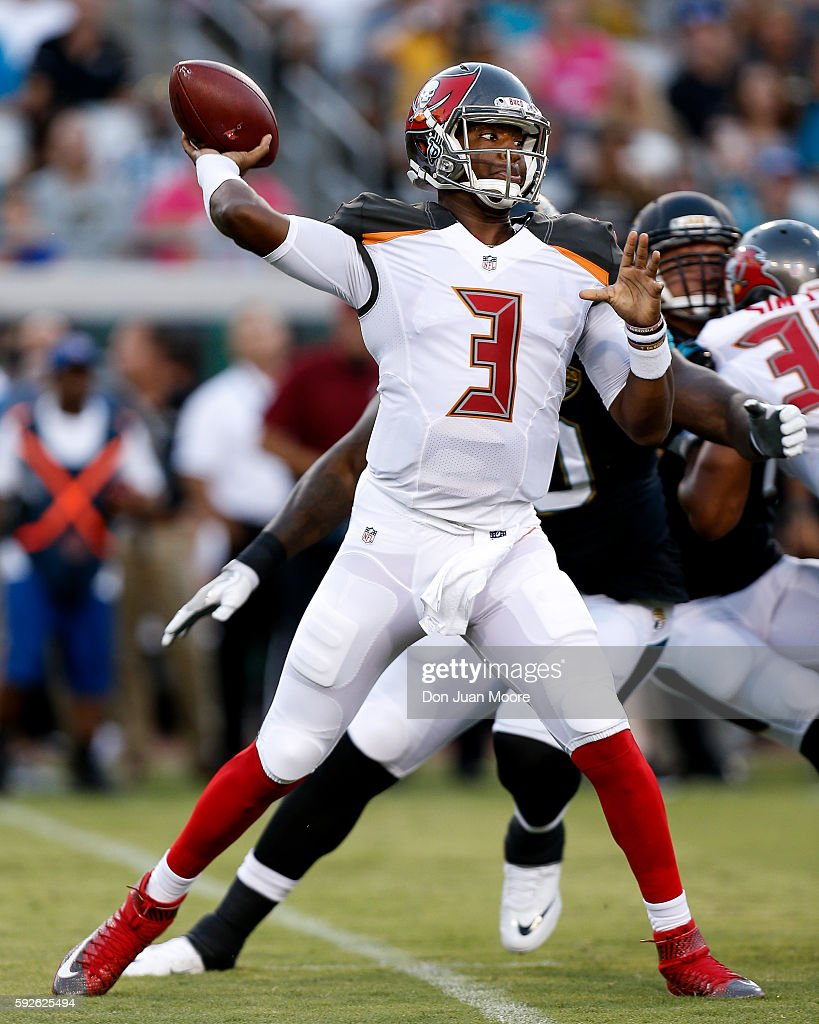 Quarterback Jameis Winston #3 of the Tampa Bay Buccaneers throws a pass during a preseason game against the Jacksonville Jaguars at EverBank Field on August 20, 2016 in Jacksonville, Florida. The Bucs defeated the Jags 27 to 21.