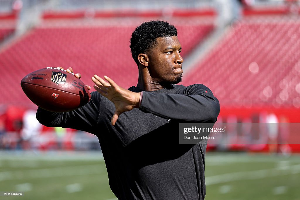 Quarterback Jameis Winston #3 of the Tampa Bay Buccaneers warms up before the game against the Seattle Seahawks at Raymond James Stadium on November 27, 2016 in Tampa, Florida.