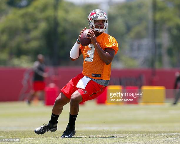 Quarterback Jameis Winston of the Tampa Bay Buccaneers works out during Rookie Mini Camp at One Buccaneer Place on May 9 2015 in Tampa Florida