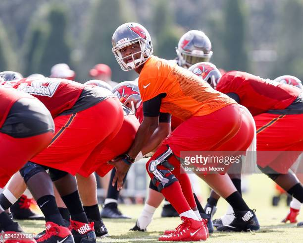 Quarterback Jameis Winston of the Tampa Bay Buccaneers works out during Training Camp at One Buc Place on July 29 2017 in Tampa Florida