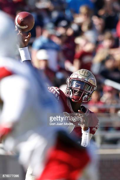 Quarterback James Blackman of the Florida State Seminoles on a pass play during the game against the Delaware State Hornets at Doak Campbell Stadium...
