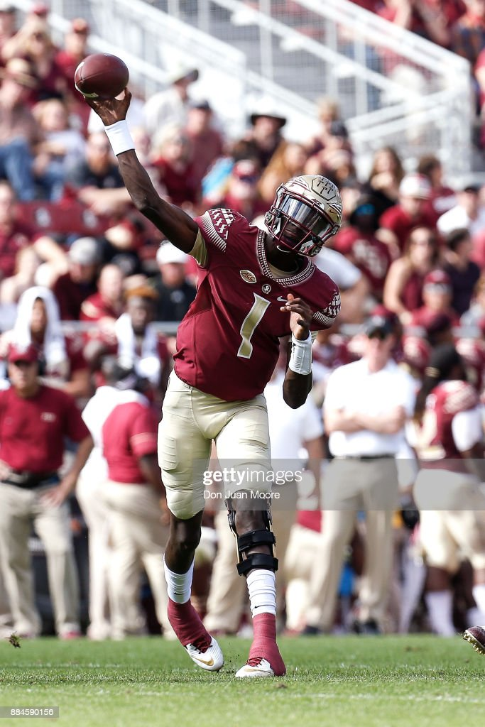 Quarterback James Blackman #1 of the Florida State Seminoles on a pass play during the game against the Louisiana Monroe Warhawks at Doak Campbell Stadium on Bobby Bowden Field on December 2, 2017 in Tallahassee, Florida. Florida State defeated Louisiana Monroe 42 to 10.