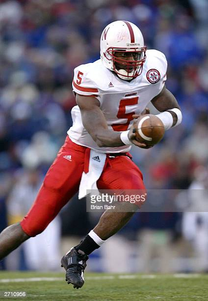 Quarterback Jammal Lord of the Nebraska Cornhuskers turns to hand the ball off against the Kansas Jay Hawks November 8 2003 at Memorial Stadium in...