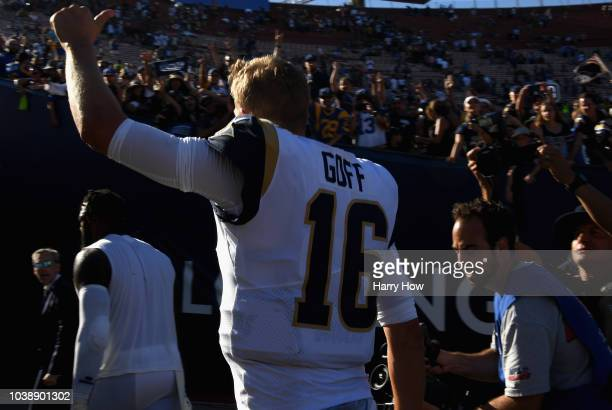 Quarterback Jared Goff of the Los Angeles Rams acknowledges the crowd after the Rams defeated the Los Angeles Chargers 3523 at Los Angeles Memorial...