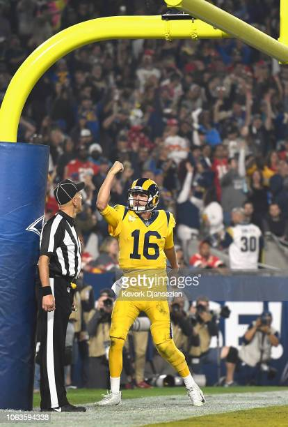 Quarterback Jared Goff of the Los Angeles Rams celebrates his touchdown on a seven yard rush during the third quarter of the game against the Kansas...