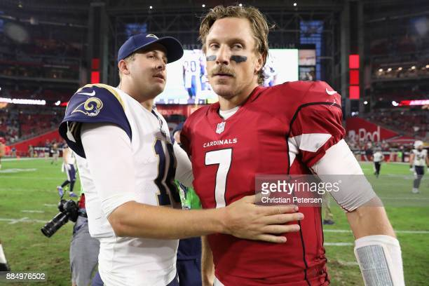 Quarterback Jared Goff of the Los Angeles Rams greets quarterback Blaine Gabbert of the Arizona Cardinals after the Rams defeated the Cardinals 3216...