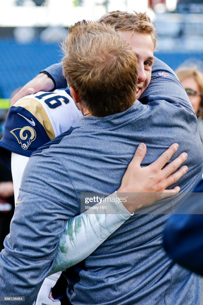 Quarterback Jared Goff #16 of the Los Angeles Rams hugs Head Coach Sean McVay following their win against the Tennessee Titans at Nissan Stadium on December 24, 2017 in Nashville, Tennessee.