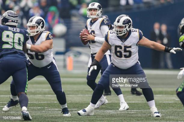Quarterback Jared Goff of the Los Angeles Rams in the first quarter against the Seattle Seahawks at CenturyLink Field on October 7 2018 in Seattle...