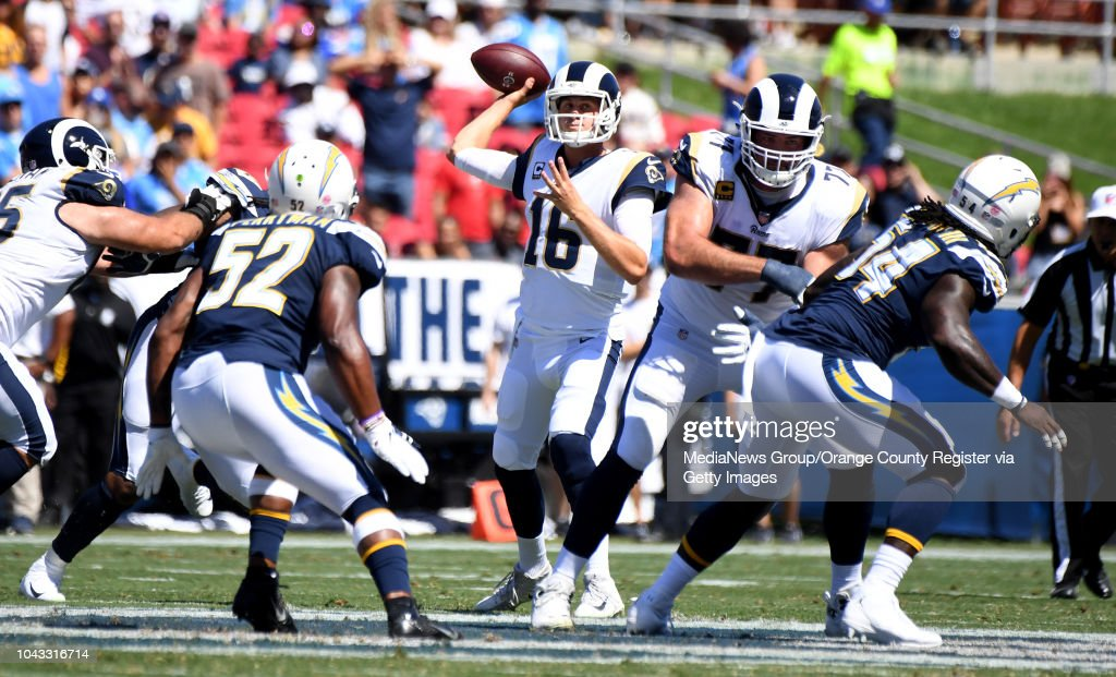 Quarterback Jared Goff  16 of the Los Angeles Rams passes against the Los  Angeles Chargers a5eaec4c6