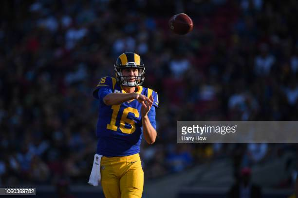 Quarterback Jared Goff of the Los Angeles Rams passes in the third quarter against the Seattle Seahawks at Los Angeles Memorial Coliseum on November...