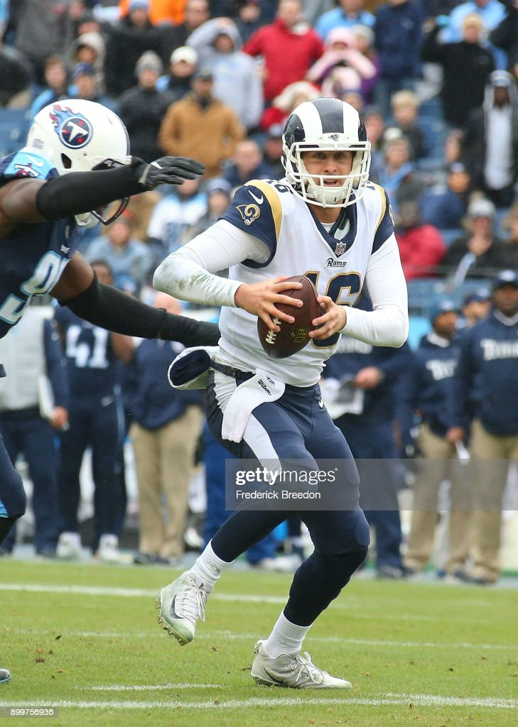 Quarterback Jared Goff #16 of the Los Angeles Rams plays against the Tennessee Titans at Nissan Stadium on December 24, 2017 in Nashville, Tennessee.