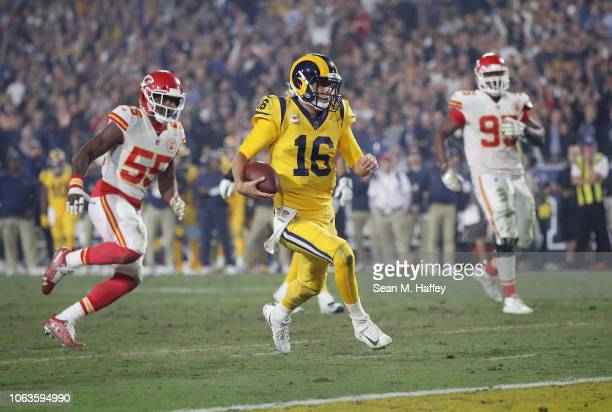 Quarterback Jared Goff of the Los Angeles Rams runs in for a touchdown on a seven yard rush during the third quarter of the game against the Kansas...