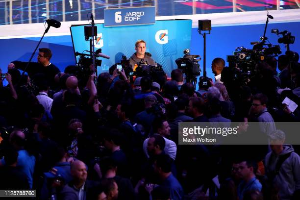 Quarterback Jared Goff of the Los Angeles Rams talks to the media during Super Bowl LIII Opening Night at State Farm Arena on January 28 2019 in...