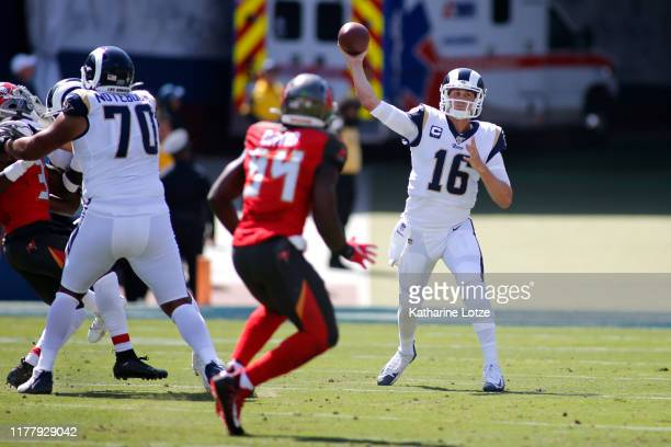 Quarterback Jared Goff of the Los Angeles Rams throws an interception during the second quarter against the Tampa Bay Buccaneers at Los Angeles...