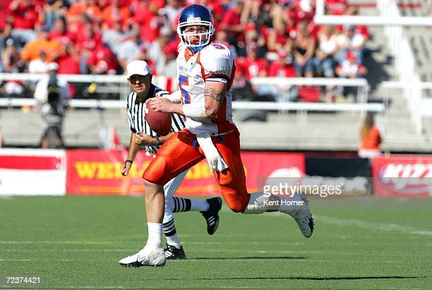 Quarterback Jared Zabransky of the Boise State Broncos looks to pass the ball as he runs against the Utah Utes at Rice-Eccles Stadium on September...