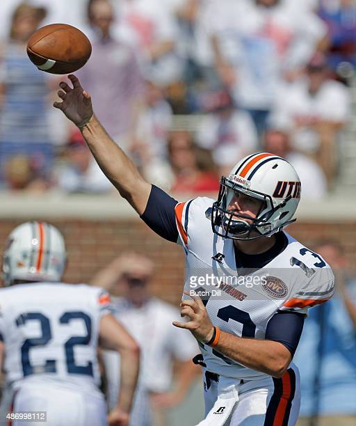 Quarterback Jarod Neal of the Tennessee Martin Skyhawks throws a pass during the first quarter of a NCAA college football game against the...