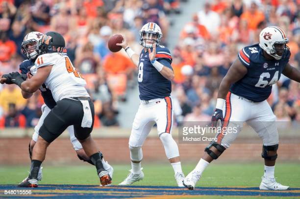Quarterback Jarrett Stidham of the Auburn Tigers looks to throw the ball during their game against the Mercer Bears at JordanHare Stadium on...
