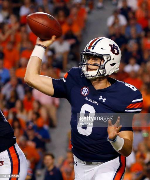 Quarterback Jarrett Stidham of the Auburn Tigers throws a pass against the Georgia Southern Eagles during the first quarter of an NCAA college...