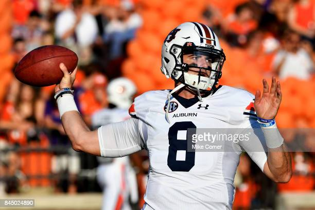 Quarterback Jarrett Stidham of the Auburn Tigers warms up before the start of the Tigers' football game against the Clemson Tigers at Memorial...