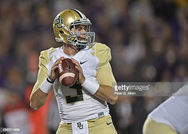 Quarterback Jarrett Stidham of the Baylor Bears drops back to pass against the Kansas State Wildcats during the second half on November 5 2015 at...
