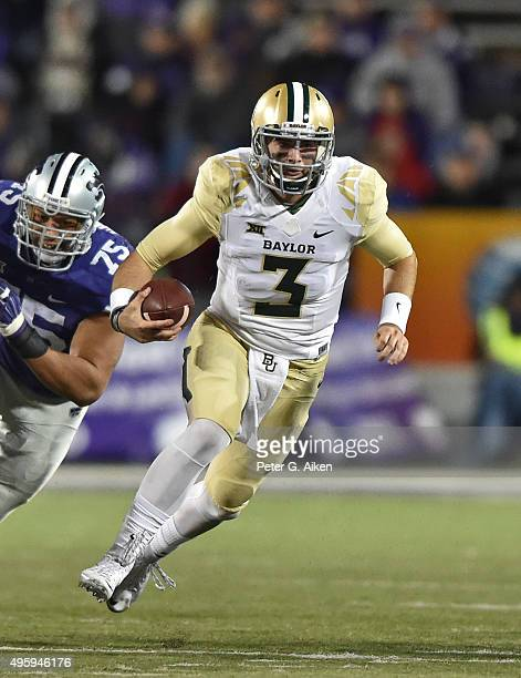 Quarterback Jarrett Stidham of the Baylor Bears rushes up field against the Kansas State Wildcats during the second half on November 5 2015 at Bill...