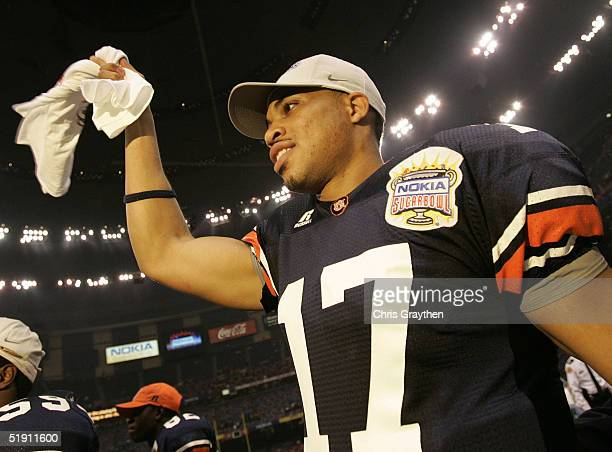 Quarterback Jason Campbell of the Auburn Tigers celebrates after defeating the Virginia Tech Hokies by a score of 1613 during the Nokia Sugar Bowl on...