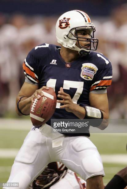 Quarterback Jason Campbell of the Auburn Tigers looks to pass against the Virginia Tech Hokies during the Nokia Sugar Bowl on January 3 2005 at the...